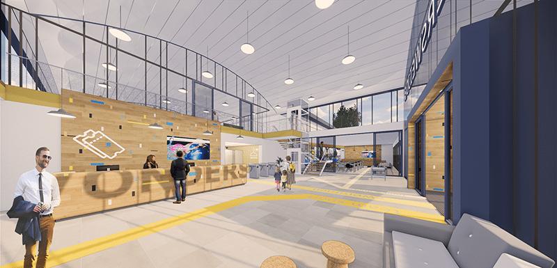Impressie van de entree van Vondersweijde na verduurzaming sportcentrum