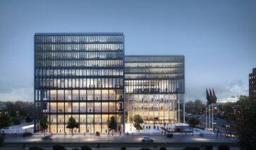Gevelconstructie van de nieuwe rechtbank, New Amsterdam Court House, DGMR
