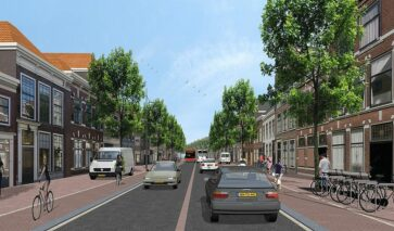 Impressie ter hoogte van tracé Hooigracht van centrumroute Leiden