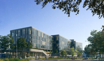 Hout-hybride kantoor van DPG Media Nederland